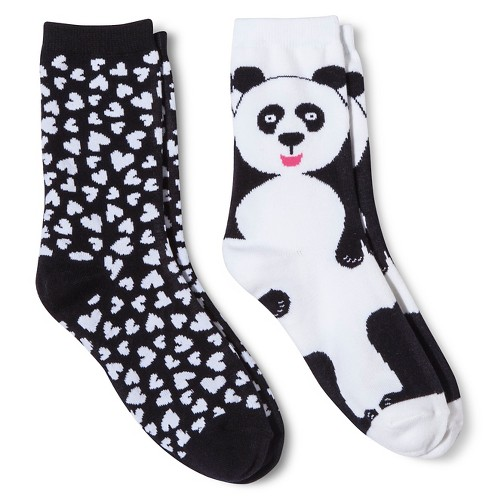 Davco Women's 2-Pack Fun Socks Big Panda/All Over Hearts - Black One Size, Size: 9-11