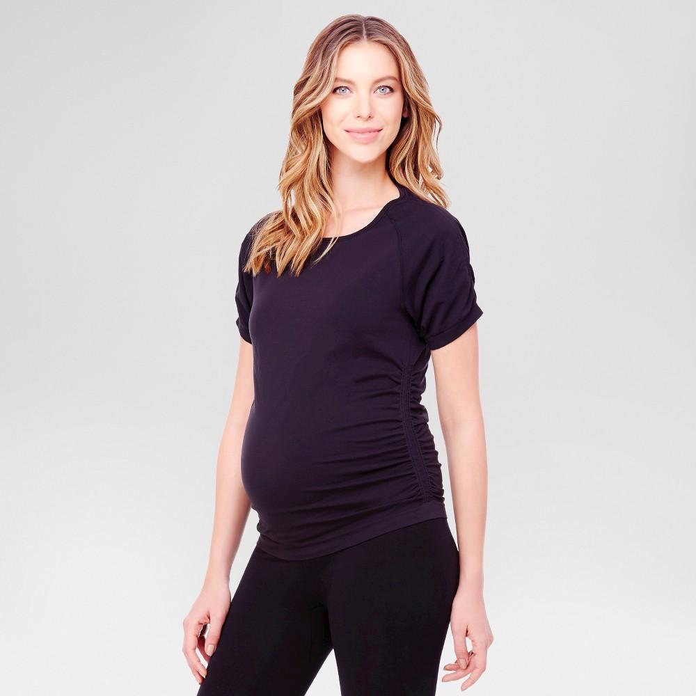 BeMaternity by Ingrid & Isabel – Short Sleeve Active Tee Black S/M, Women's