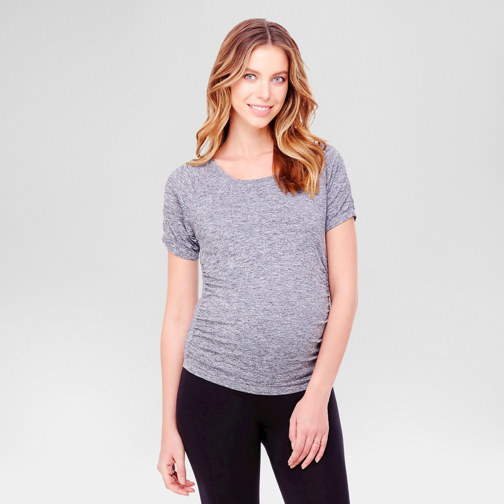 BeMaternity by Ingrid & Isabel – Short Sleeve Active Tee Gray Heather Marl L/XL, Women's, Heather Blue