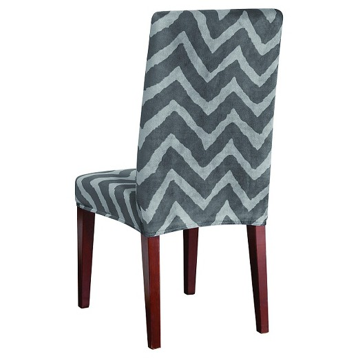 Chevron chair covers made 2 order small s chevron chair cove blue velvet chair home goods chairs - Plush dining room chairs ...