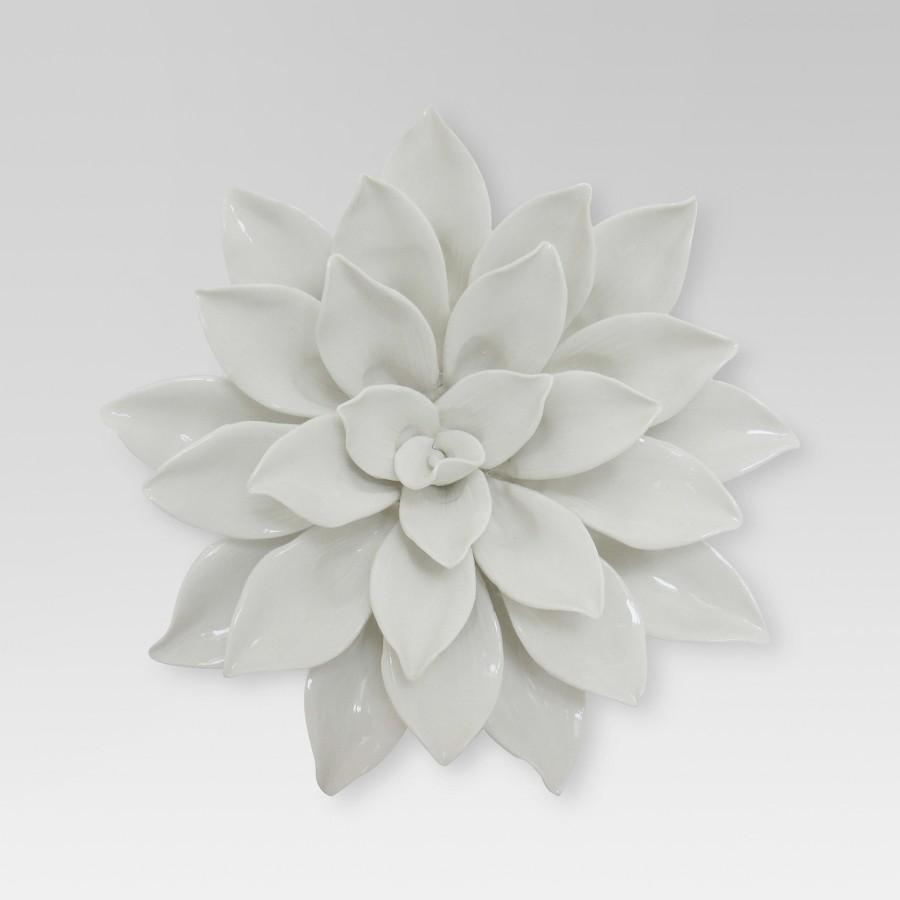 Ceramic Wall Flower Decor: Ceramic Flower Wall Decor Contemporary Sculpture Neutral
