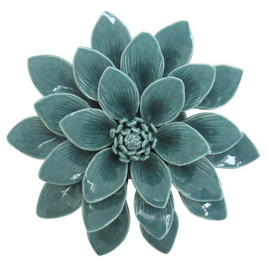 Porcelain Flower Wall D Cor 8 Aqua Target