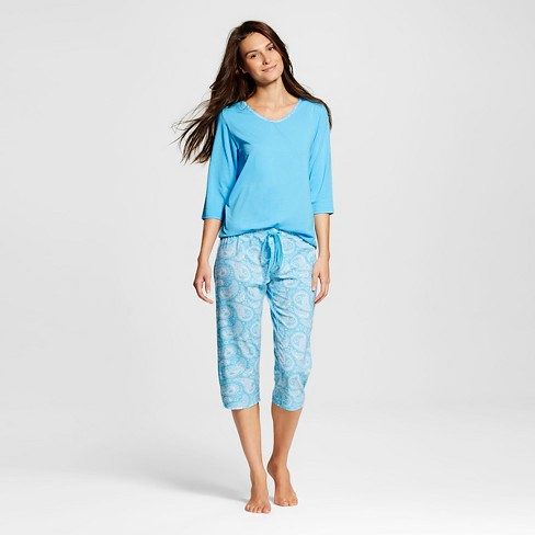 Hanes® Premium Women's 3/4 Top/Capri Pants Pajama Set - Aqua - image 1 of 2