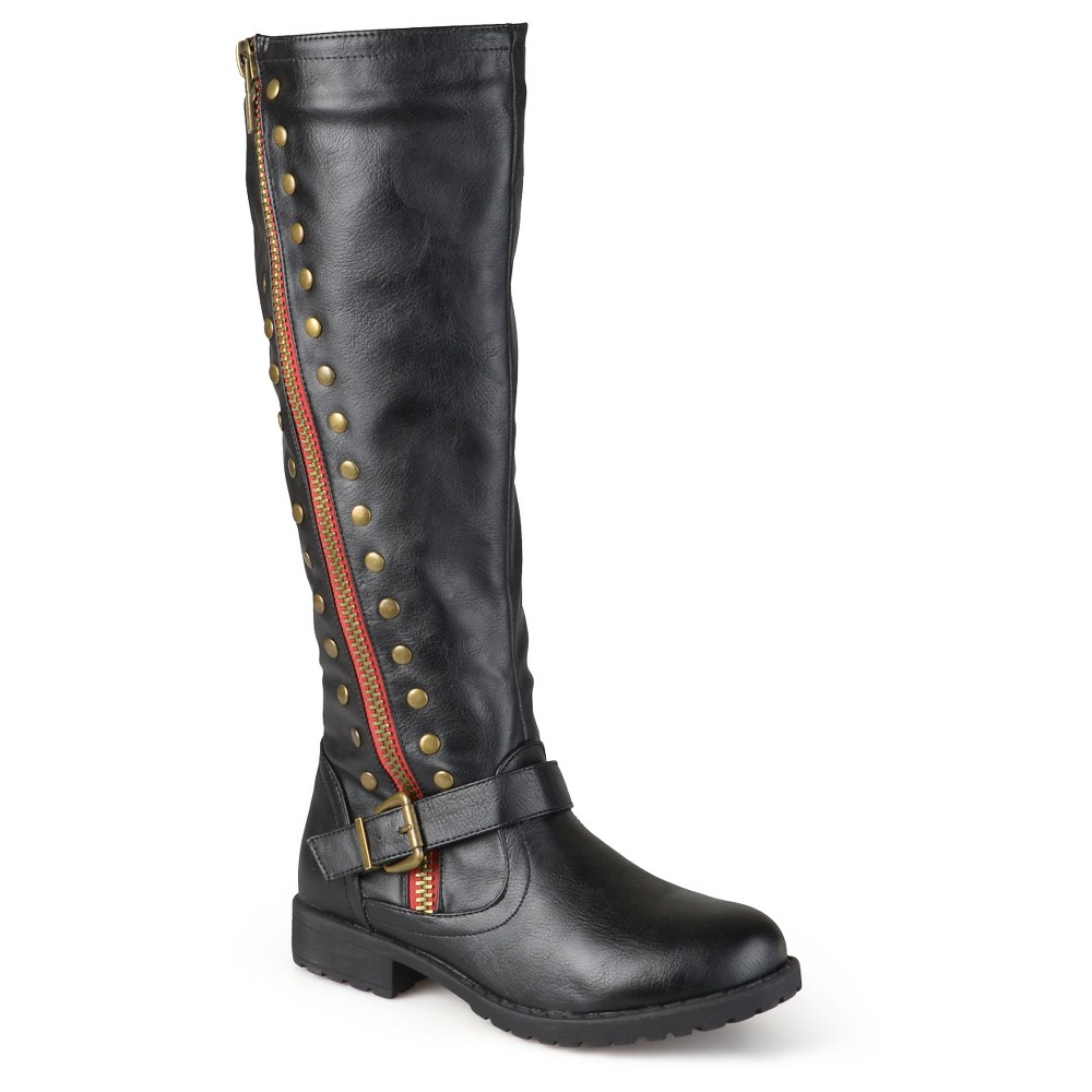 Women's Journee Collection Round Toe Studded Zipper Riding Boots - Black 7.5