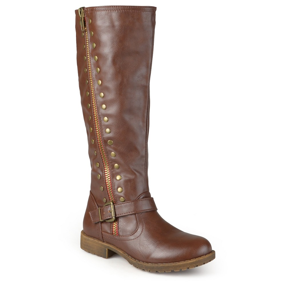 Womens Journee Collection Round Toe Studded Zipper Riding Boots - Brown 7