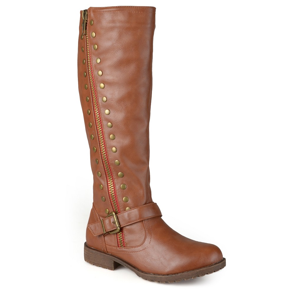 Womens Journee Collection Round Toe Studded Zipper Riding Boots - Chestnut 8, Dark Chestnut