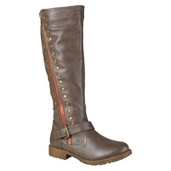 Women's Journee Collection Round Toe Studded Zipper Riding Boots - Taupe 9