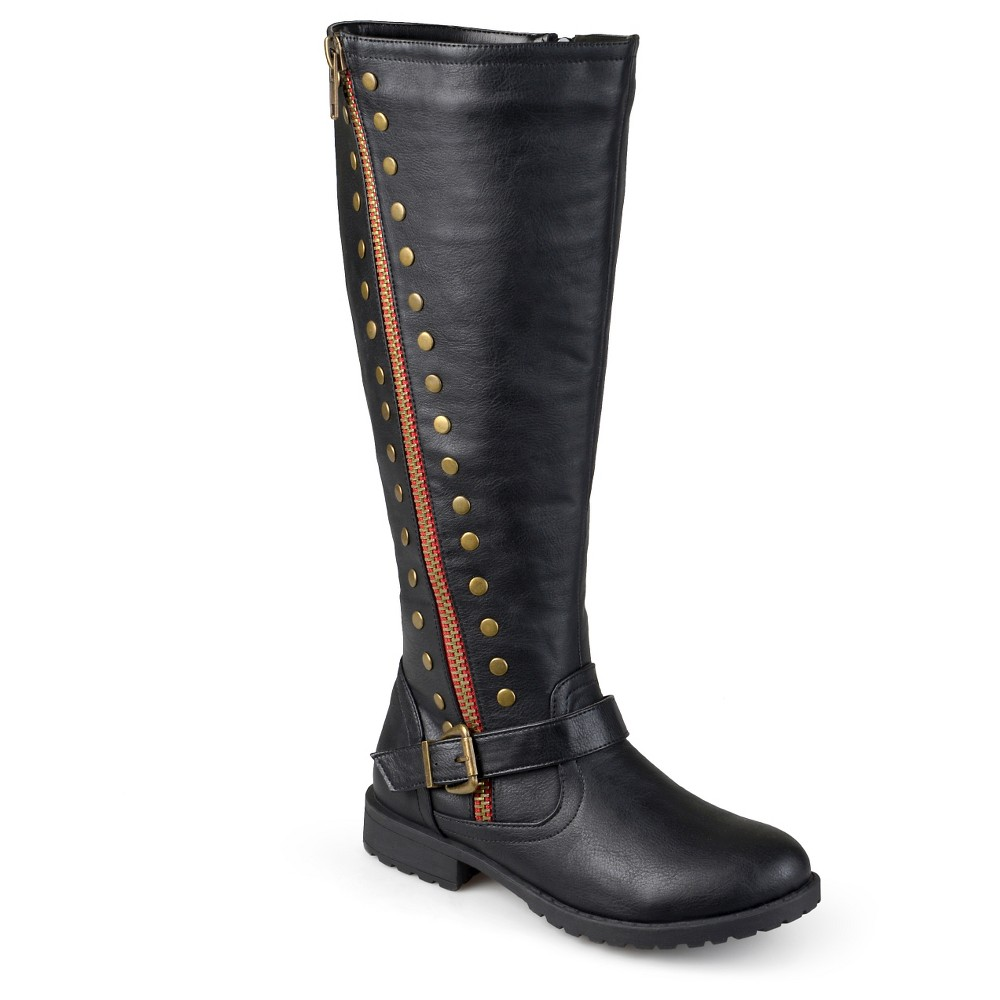 Womens Journee Collection Wide Calf Round Toe Studded Zipper Riding Boots - Black 9, Size: 9 wide calf