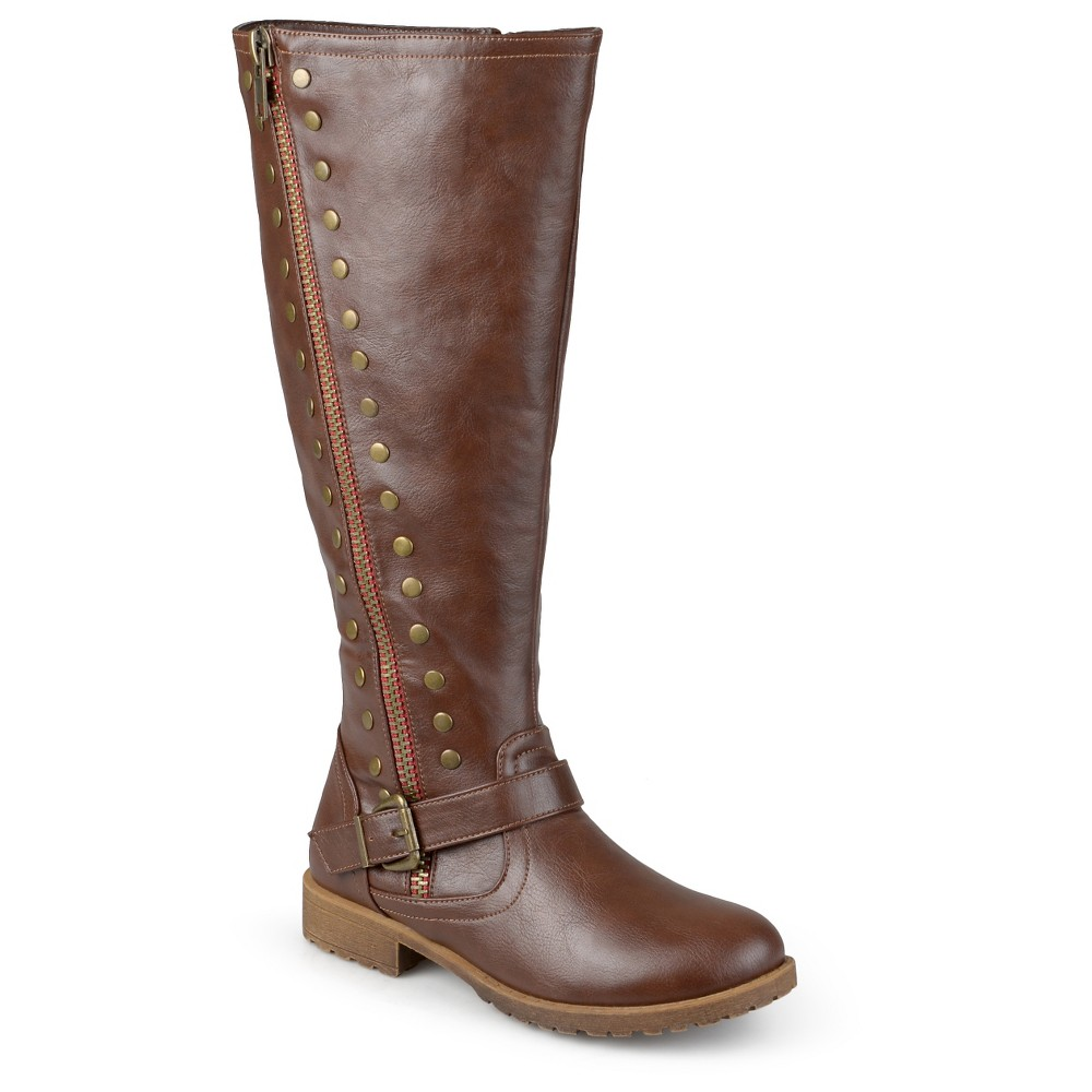 Womens Journee Collection Wide Calf Round Toe Studded Zipper Riding Boots - Brown 7, Size: 7 wide calf