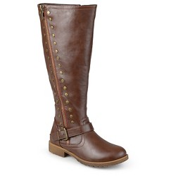 Women's Journee Collection Wide Calf Round Toe Studded Zipper Riding Boots - Brown 9