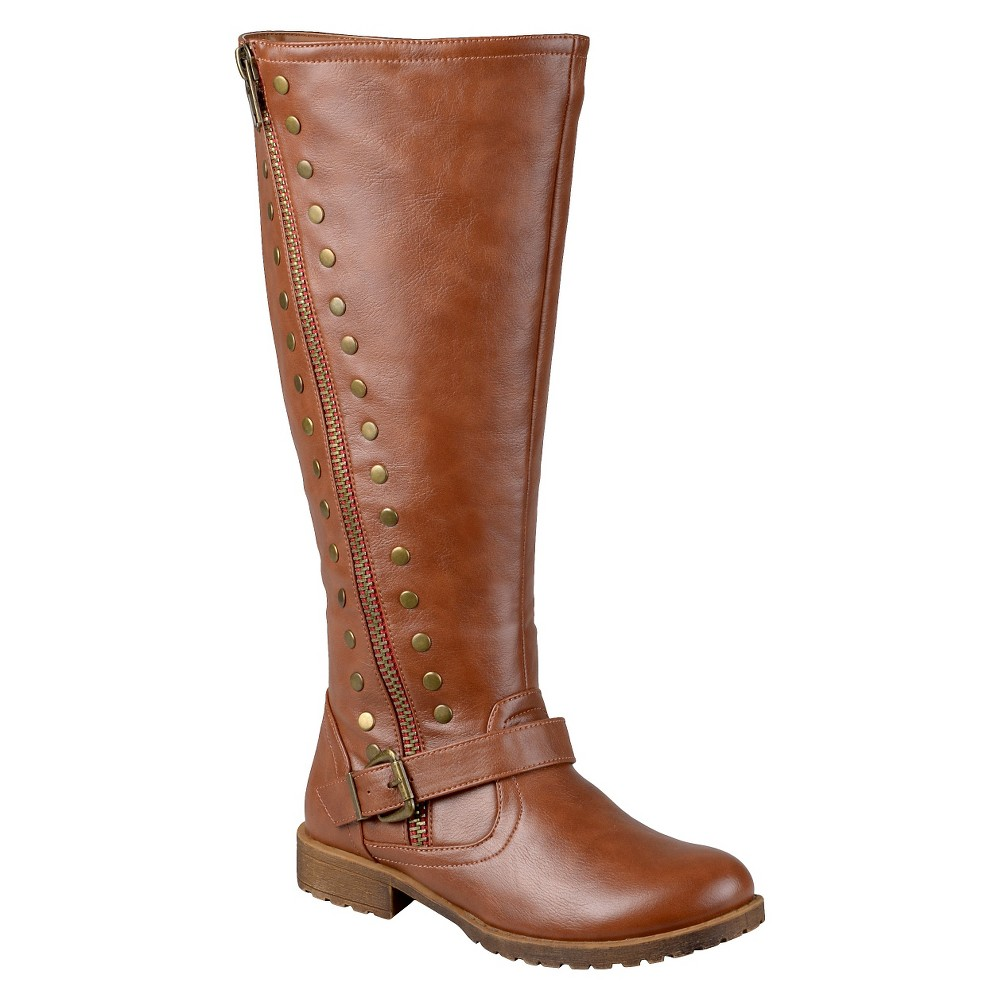Womens Journee Collection Wide Calf Round Toe Studded Zipper Riding Boots - Chestnut 6, Size: 6 Wide Calf, Dark Chestnut