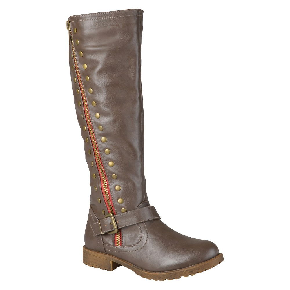 Womens Journee Collection Wide Calf Round Toe Studded Zipper Riding Boots - Taupe 7, Size: 7 Wide Calf, Taupe Brown