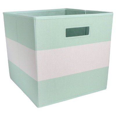 Fabric Cube Storage Bin Mint Stripe - Pillowfort™