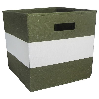 Fabric Cube Storage Bin Olive Stripe - Pillowfort™