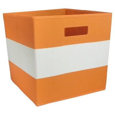 Fabric Cube Storage Bin Orange Stripe - Pillowfort™