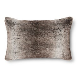 Faux Fur Oblong Pillow - Gray/Brown - Fieldcrest™