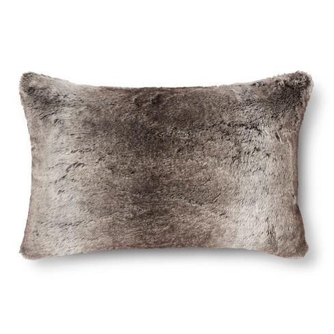 Fieldcrest Luxury Decorative Pillows : Faux Fur Oblong Pillow - Gray/Brown - Fieldcrest : Target