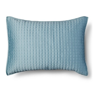 Tonal Stitch Sham King - Aqua - Fieldcrest™