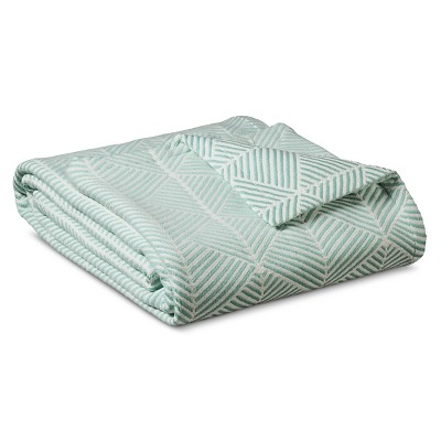 Fashion Woven Pattern Cotton Blanket Natural White & Turquoise (Full/Queen)- Threshold™