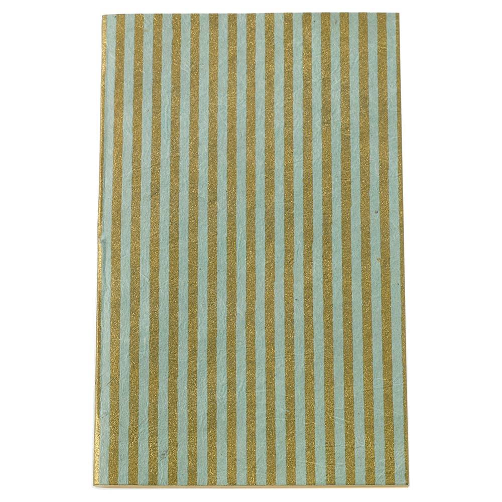 Accent Decor Journal, No Rule – Mint Green with Gold Stripes