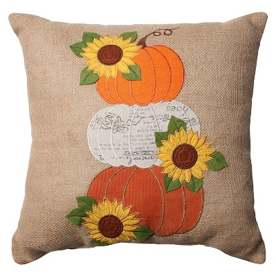 Pillow Perfect Harvest Pumpkins and Sunflowers Burlap Throw Pillow - Tan (16.5 )