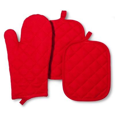 3pk RedSolidKitchen textile set- Room Essentials™