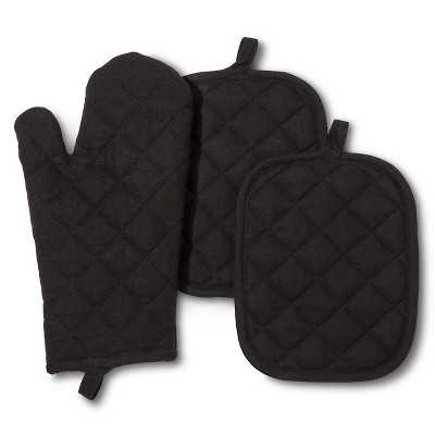 3pk Ebony Solid Kitchen textile set - Room Essentials™
