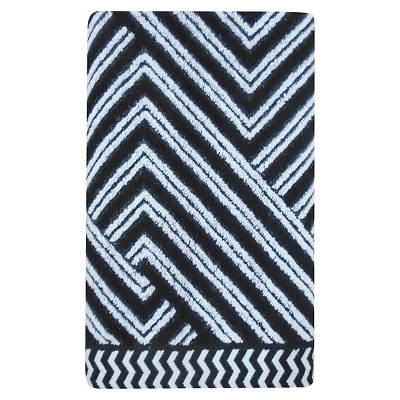 Sculpted Accent Bath Towel White/Galaxy Black - Nate Berkus™
