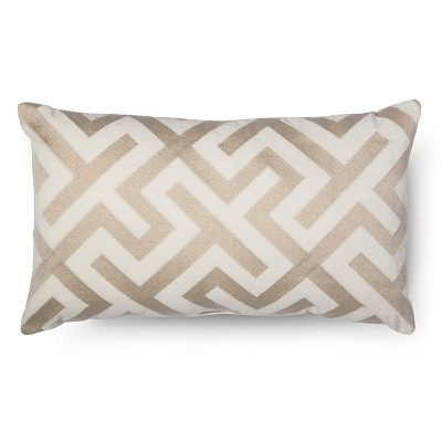 Embroidered Oblong Pillow - Cream - Fieldcrest™