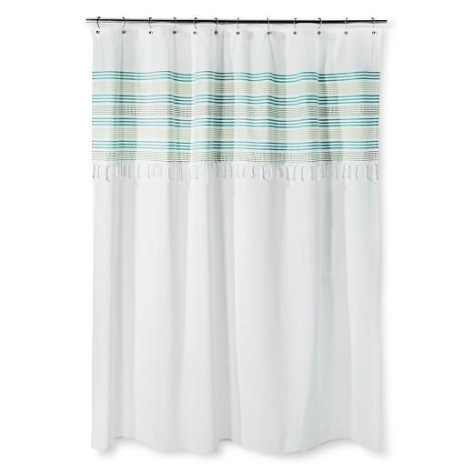 Shower Curtain Green Stripe Fringe Threshold Target
