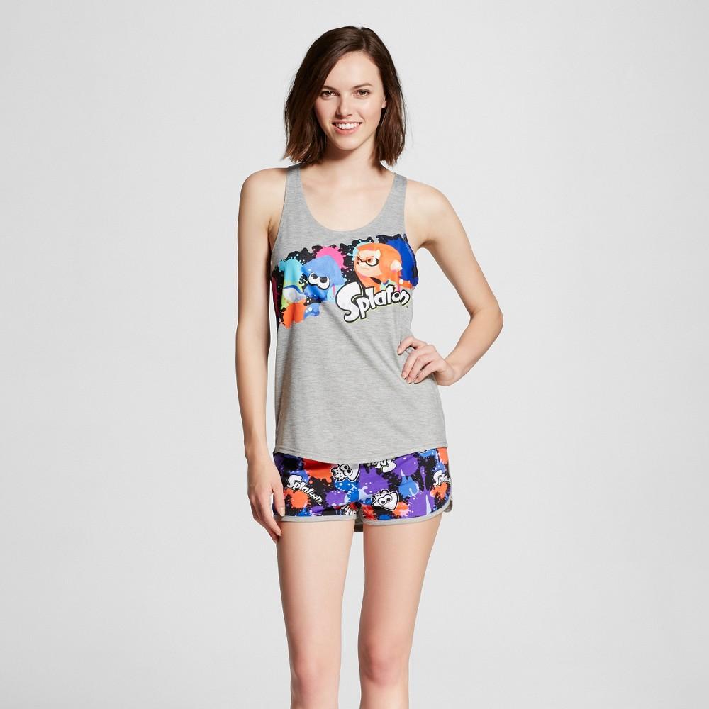 Nintendo Women's Splatoon Tank & Short Pajamas Set – S, Heather Gray