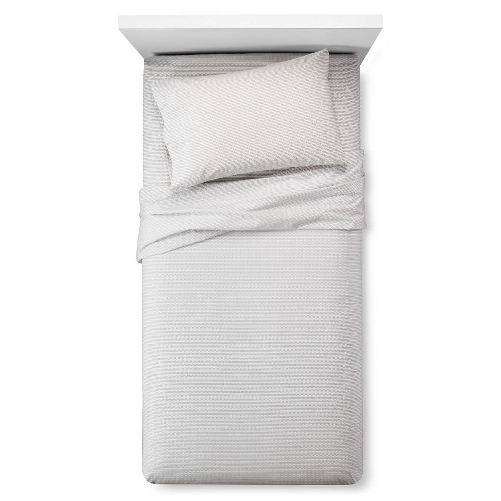 Easy Care Sheet Set (King) Zig Zag Print White - Room Ess...