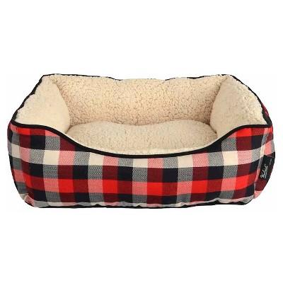 Woolrich™ Cuddler Pet Bed - S - Sand/Crimson/Chocolate