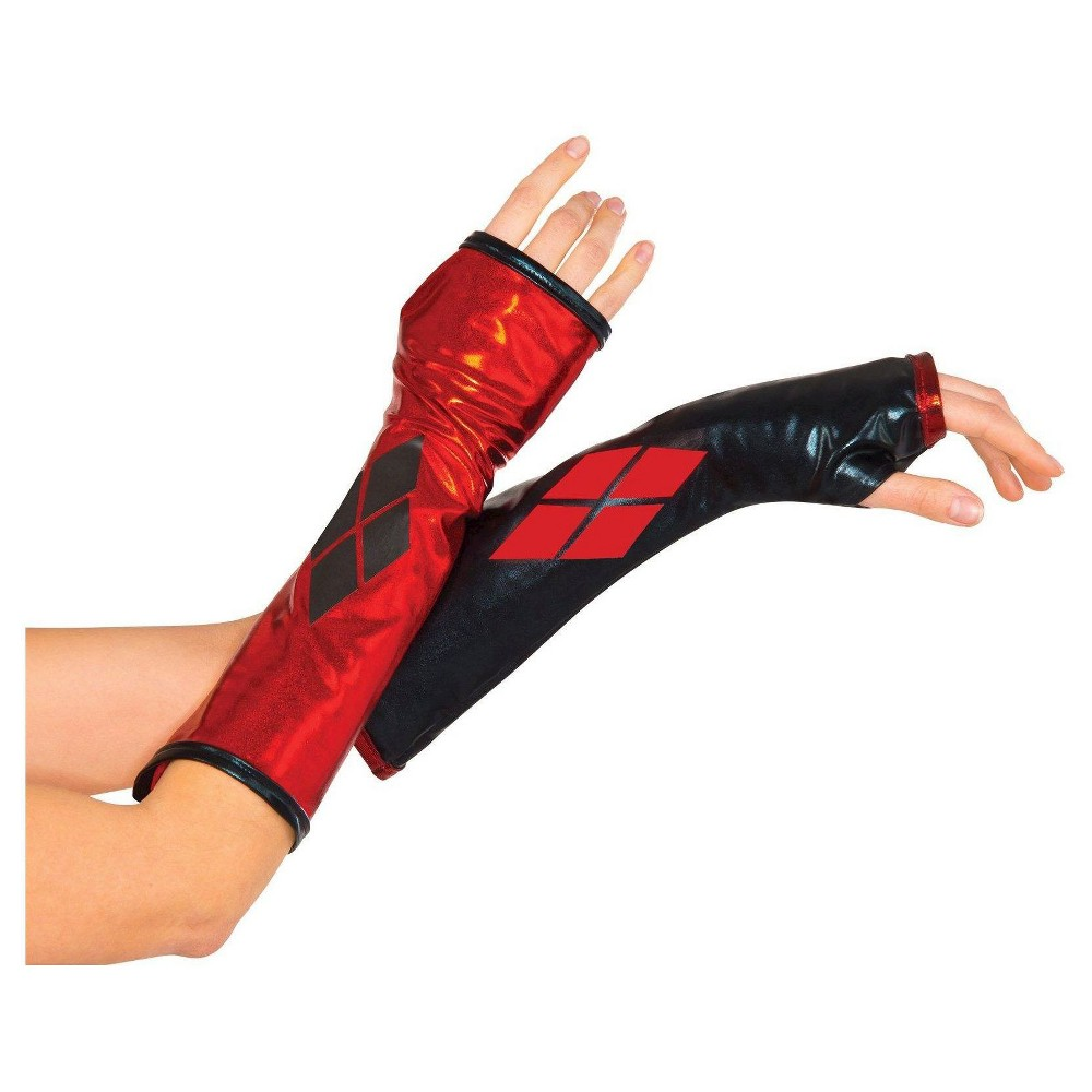 Womens DC Comics Harley Quinn Fingerless Gloves, Red