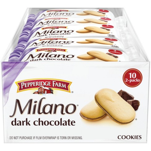 Pepperidge Farm® Milano® Dark Chocolate Cookies, 7.5oz Multipack Tray, 10ct 0.75oz 2pks - image 1 of 7