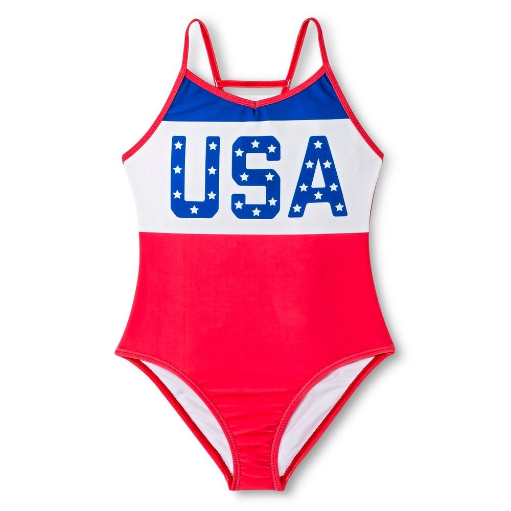 Girls Retro USA One Piece Swimsuit - Americana XS, Red