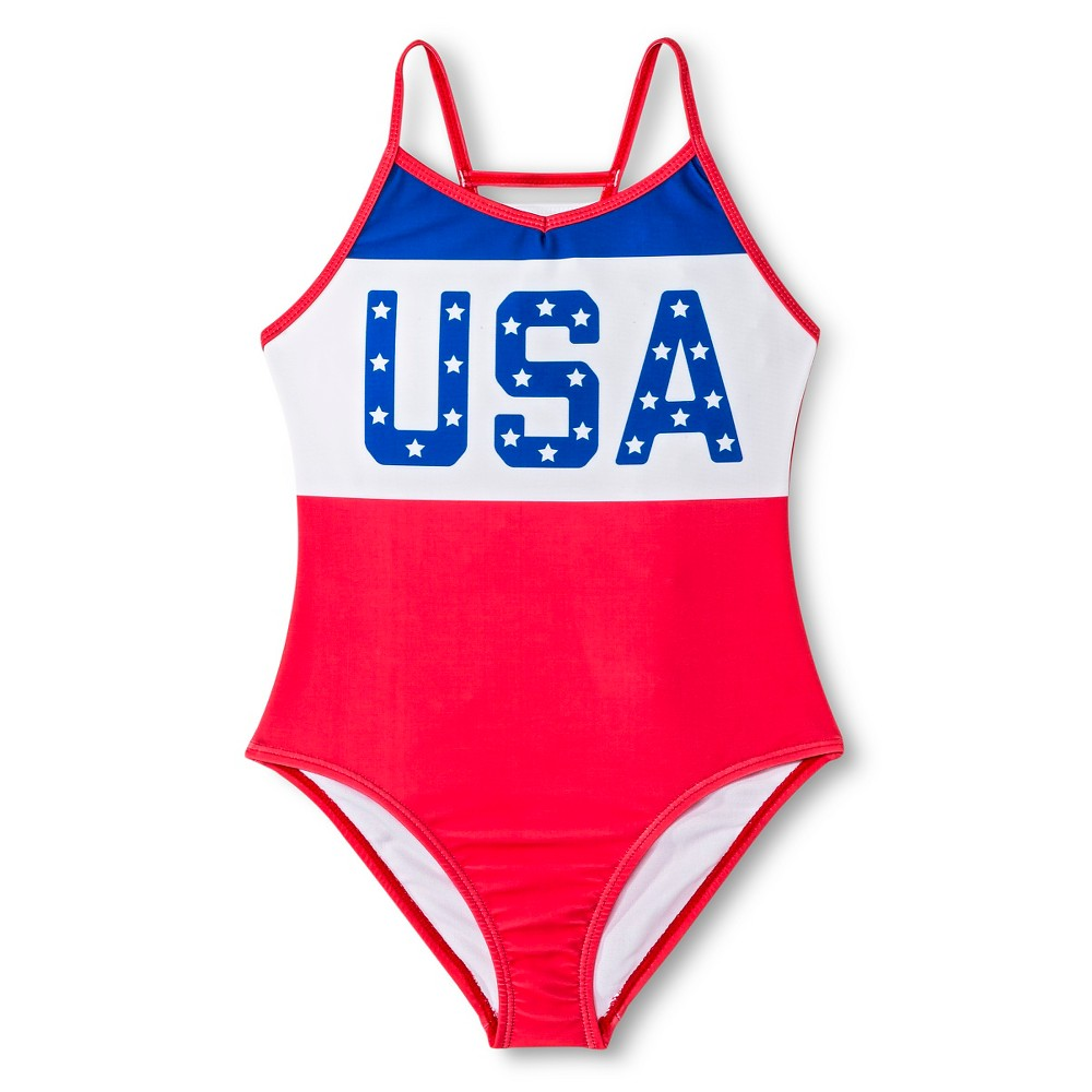 Girls Retro USA One Piece Swimsuit - Americana S, Red