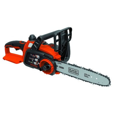 BLACK+DECKER 20V MAX Lithium Chainsaw with 10  Oregon Bar and Chain and Tool Free Tensioning - Orange Sorbet