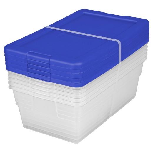 Sterilite5pc Storage Bins Clear With Blue Lid 1 5gal Room Essentials