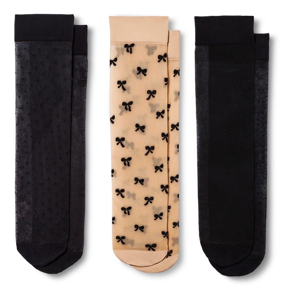 Women's Trouser Socks 3-Pack Bows Nude/Black One Size - Merona,  Size: 4-10,  Black Combo plus size,  plus size fashion plus size appare