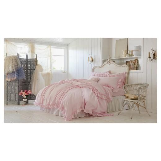 Ruffle Duvet Amp Sham Set Full Queen Pink Simply Shabby