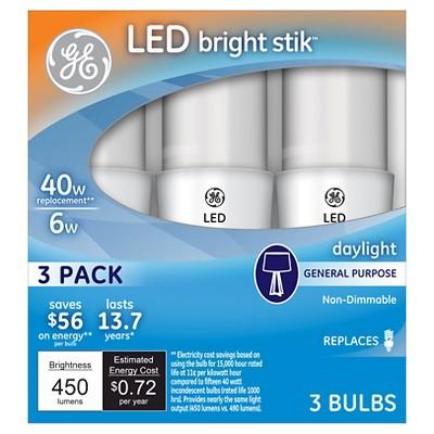 ge led 40watt bright stik light bulb 3pk daylight