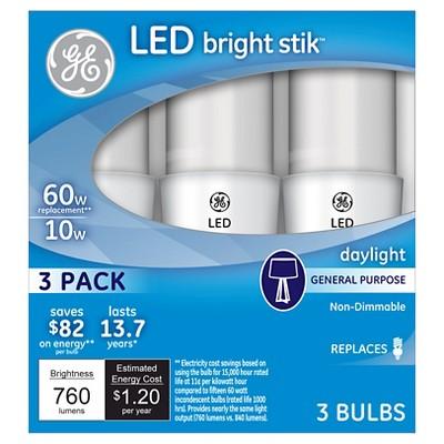 GE LED 60Watt Bright Stik Light Bulb (3Pk)- Daylight