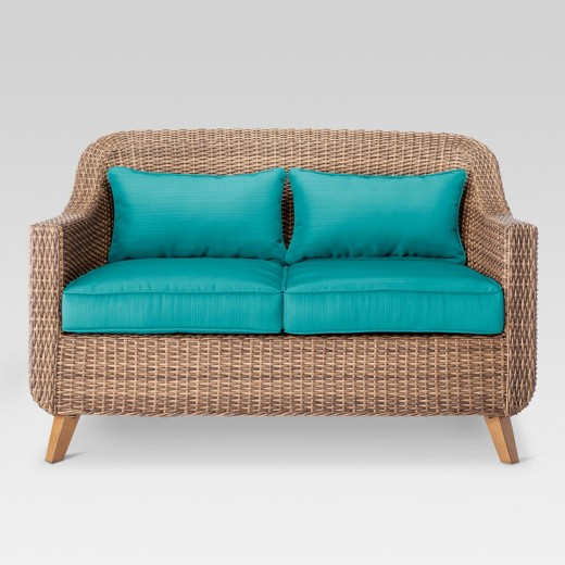 Mayhew All Weather Wicker Loveseat Turquoise Threshold Target
