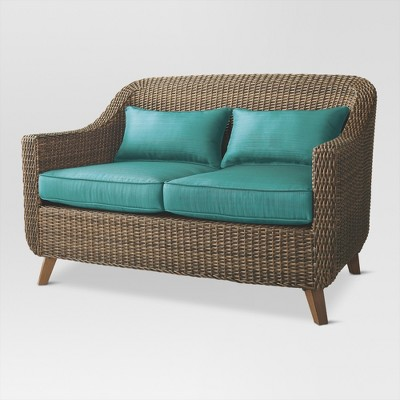 Mayhew All Weather Wicker Loveseat-Turquoise - Threshold, Turquoise