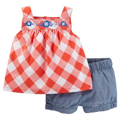 Just One You™ Made by Carter's® Baby Girls' 2pc Gingham Short Set - Orange/Chambray 3M