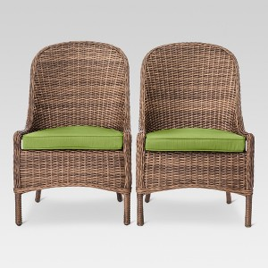 Mayhew 2pk All Weather Wicker Dining Chair Green - Threshold