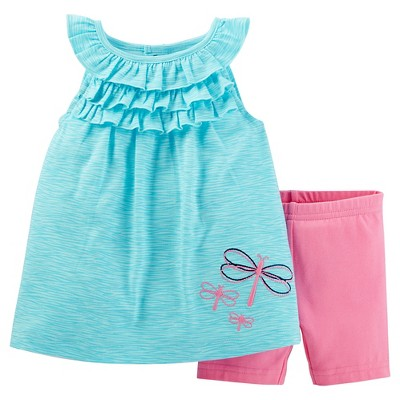 Just One You™ Made by Carter's® Baby Girls' 2pc Butterflies Biker Short Set - Turquoise/Pink 3M