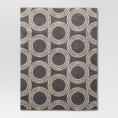 Gray/White Shag Circles Washable Accent Rug 4'x5'6  - Project 62™