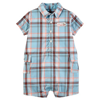 Just One You™ Made by Carter's® Baby Boys' Plaid Romper - Light Blue 3M